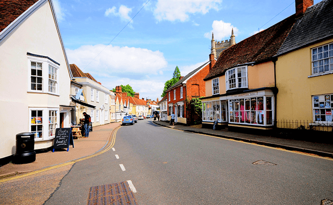 Populated street in Suffolk